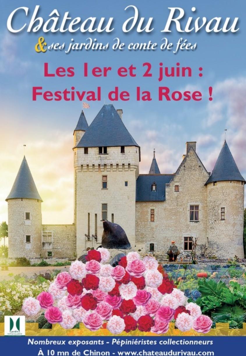Affiche du festival de la rose au château du Rivau